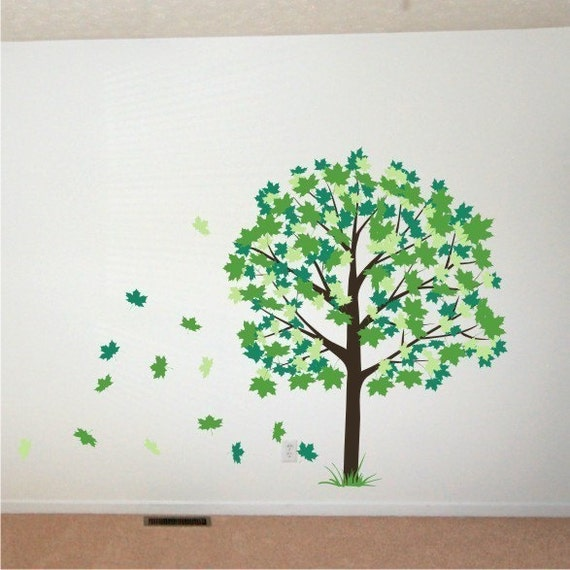 Wall Decal Spring Maple Tree by ChuckEByrdWallDecals on Etsy