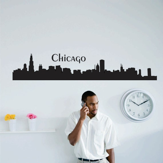 Handmade Spark - chuckebyrdwalldecals - Chicago Skyline Silhouette ... - Handmade Wall Art Stickers