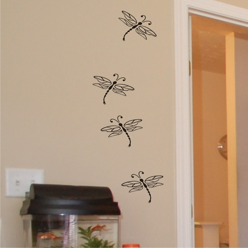 Dragonflies wall decal art kids wall by chuckebyrdwalldecals for Dragonfly mural