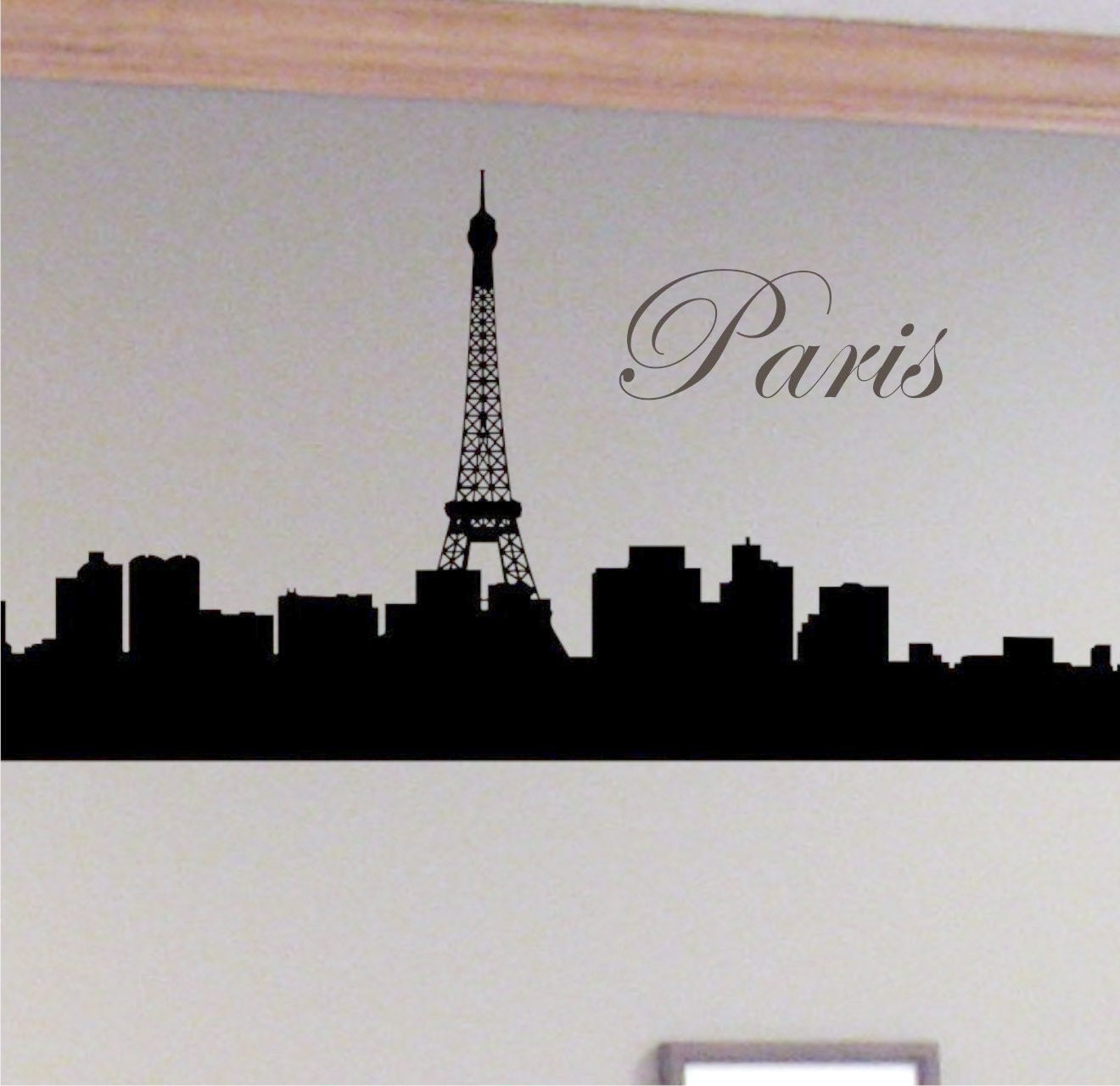 items similar to paris skyline with eiffel tower removable wall decal on etsy. Black Bedroom Furniture Sets. Home Design Ideas