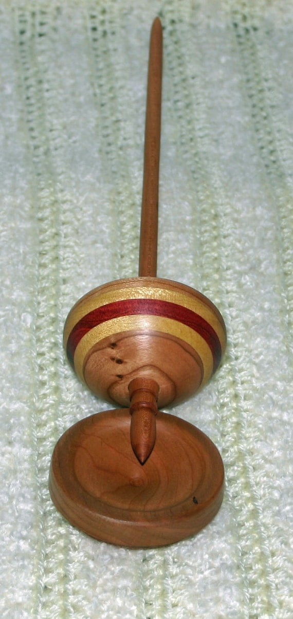 Cherrywood Tibetan Style Support Spindle with bowl.