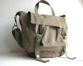 Rustic Brown Messenger Bag with Special Utilitarian Features made of New and Vintage fabrics