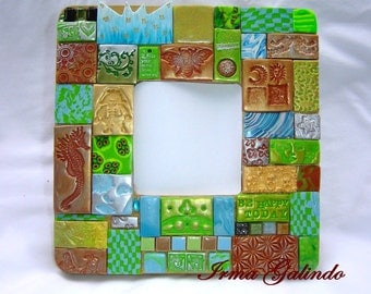 Polymer Clay Mosaic Mirror Free Your Mind  free shipping USA