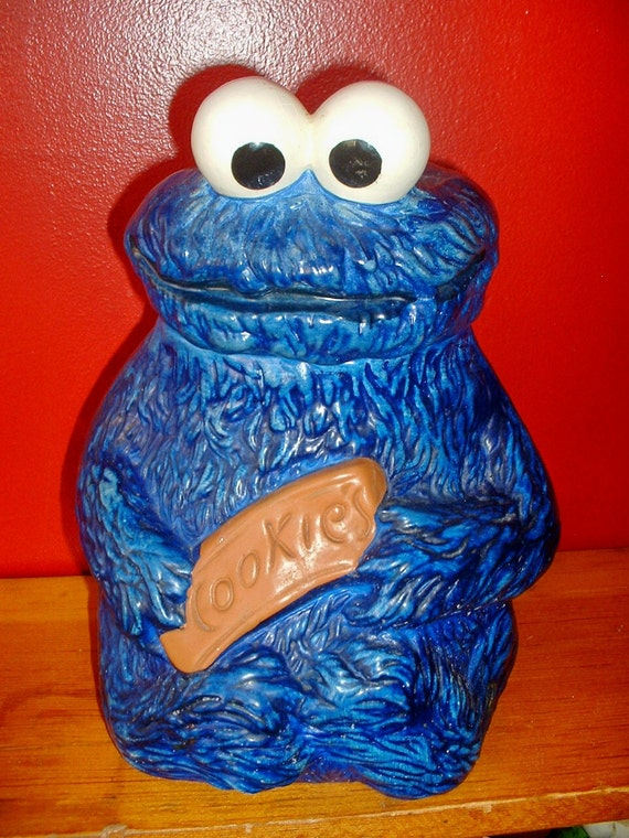 """Vintage Cookie Monster Cookie Jar - """"Muppets Inc, 970"""" - Great Condition"""