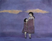 "Mother daughter art. giclee print girls nursery. girls room art  violet nursery art print, ""Frocks -  Mae and Bebe"""