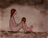Giclee print. mom holiday gift girl's pink nursery art. mom and daughter art. Fireflies - Mae and Bebe""
