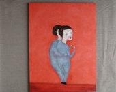 Original oil painting portrait girls persimmon orange color, Temptation STUDIO SALE