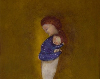 "Giclee print. Boy nursery art. mother and child. baby shower gift. ""Slumber"""