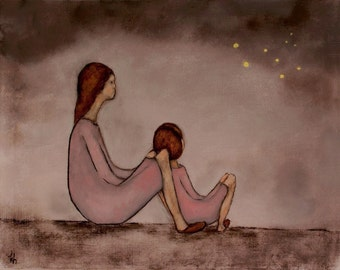 Mother daughter wall art. girl's pink nursery art. mommy and me painting print. Fireflies - Mae and Bebe""