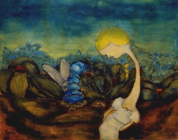 "Alice in wonderland. Giclee print of original painting. wall art decor. ""Alice"""
