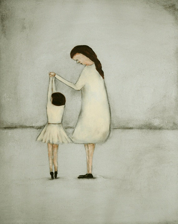 """Giclee print. Mother and daughter wall art. dance ballet art print  mommy and me girls room art  """"Dance - Mae and Bebe"""""""
