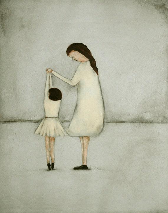 "Giclee print. children art print. daughter mom. dance ballet art print  girls room art  ""Dance - Mae and Bebe"""