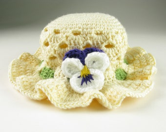 Crochet Baby Hat Pansy Easter Bonnet Toddler Digital Download PDF Crochet Pattern