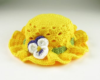 Crochet Baby Easter Pansy Bonnet Toddler Baby Hat Digital Download PDF Crochet Pattern