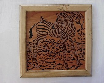 Zebra Scroll Saw Art