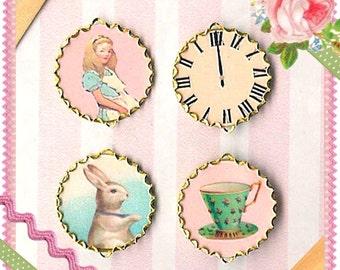 Alice in Wonderland Jewelry, Alice Charms, Alice Earrings, Necklace, Alice in Wonderland