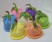 Knit Fruit and Veggie Hats Sweet Baby Pastel 4 Pak  Great Idea for Professional Photography Prop sized to fit Newborn and Young Babies