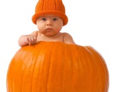 Knit Pumpkin Fruit Hat - Toddler and Child Sizes  Great Photography Prop for Fall and Halloween Portraits - Photo by Visions to Images