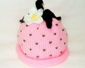Knit Pink Strawberry Fruit Hat with Flower Makes a Great Photo Prop Infant Sizes