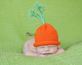 Carrot Top Cutie Knit Vegetable Hat sized to fit Newborn Infants and Wee Babies Easter Bunny Food