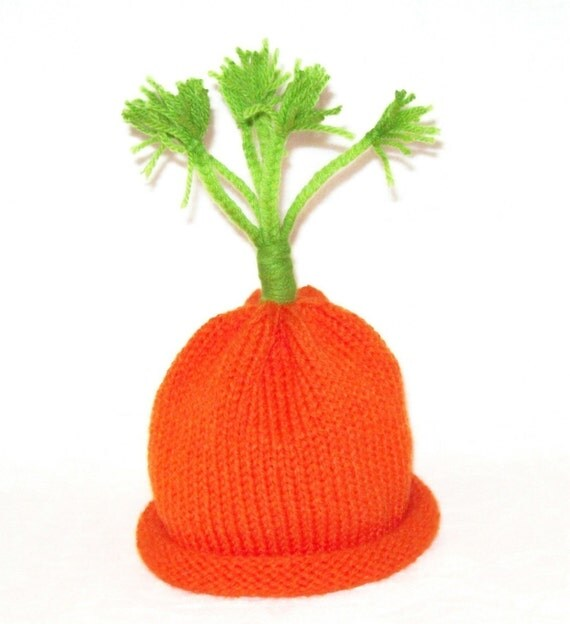Carrot Top Cutie Knit Vegetable Hat sized to fit Young Infants and Babies Easter Bunny Food