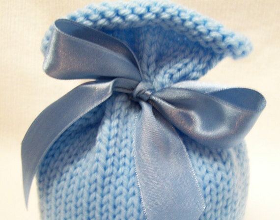Baby Bow Top Newborn Hat in Baby Blue on Blue Photography Prop