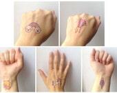 Temporary Tattoos - Set of 5 - Unicorn, Cat, Rainbow, Ice Cream, Star