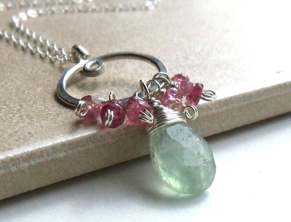 Fluorite, Pink Tourmaline, Wire Wrapped Gemstone Pendant Drop Necklace