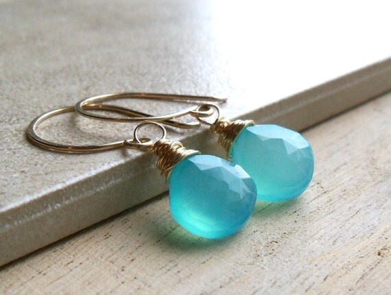 Gemstone Drop Earrings, Aqua Chalcedony Wire Wrapped Briolette Gold Fill Earrings