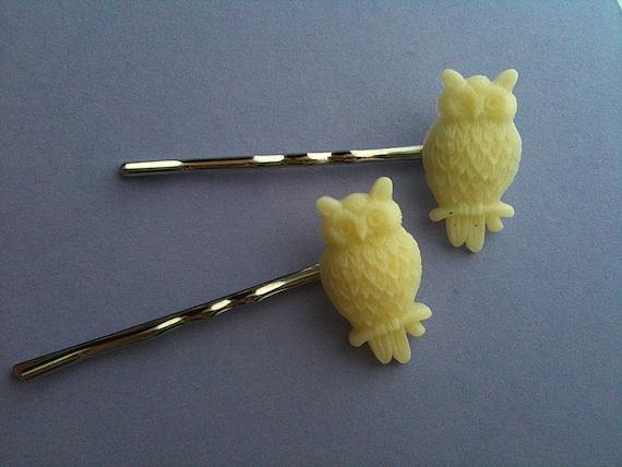 Resin White Owl Baby Hairpins stocking stuffer