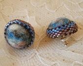 Marble Felt and Bead Earrings