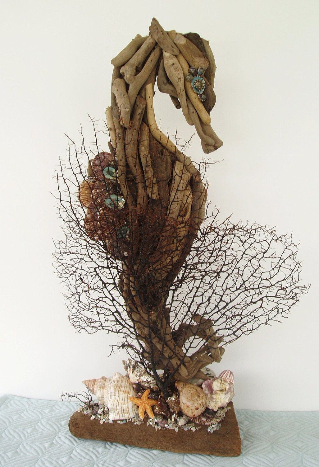 Driftwood Seahorse Seashells And Seafans Sculpture