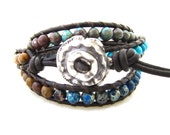Artisan Handcrafted Button 3X Triple Leather Beaded Wrap Bracelet .999 Fine Silver