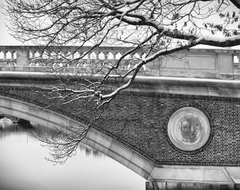Weeks Foot Bridge Over the Charles River at Harvard -- Black and White Photograph