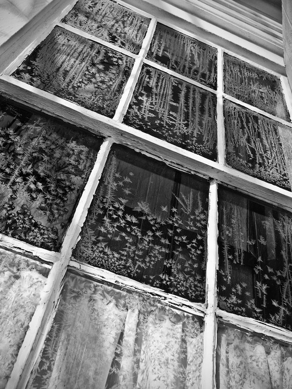 Frosty Window of Old Schoolhouse Built -- black and white photograph