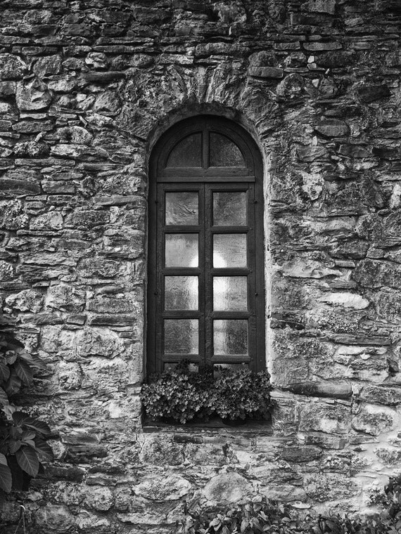 Window of Old Spanish Mission--San Antonio Texas -- black and white photograph
