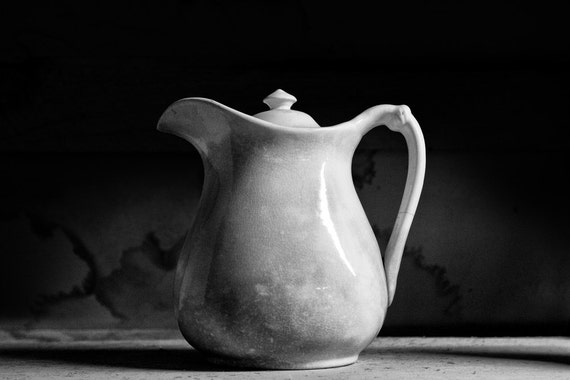 Antique White Pitcher --Black and White Photograph