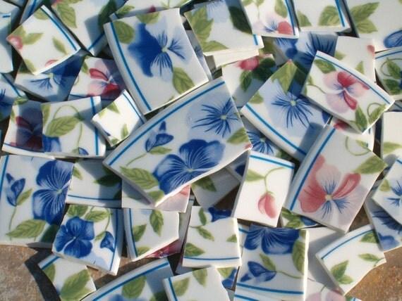 Garden Pansies Handcut Broken Recycled China Mosaic Tiles