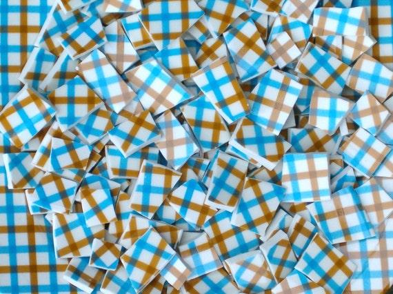 CrissCross RetRo Blue Brown 150 Broken China Mosaic Tiles