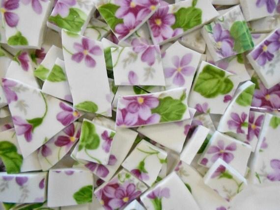 Purple Violets Chintz Recycled Mosaic Tiles Broken China
