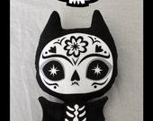 Sugar Skull Toy - Day of the Dead toy - Dia de los Muertos plush - Sugar Skull Bat