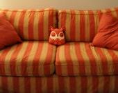 Argyle Owl Pillow - Red