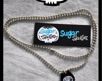 Day of the Dead Sugar Skull Charm Dia de los Muertos Bat Jewelry Pendant