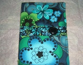ON SALE Purse Organizer Coupon Holder Black Turquoise Floral Fabric with Free Matching Wallet
