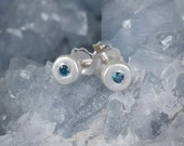 Tiny Blue Diamond Studs in Sterling Silver, stud earrings, dainty, matte, everyday