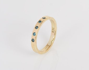 18K Gold and Blue Diamond Ring, wedding band, engagement ring, stacker, everyday, gold band, diamonds