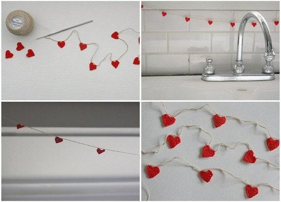 mini hearts, crocheted garland