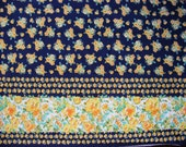 FOR REBECCA - 2 1/3 YDS - Vintage floral border print fabric in navy blue, blue-green, yellow, orange, green, and white by Cranston