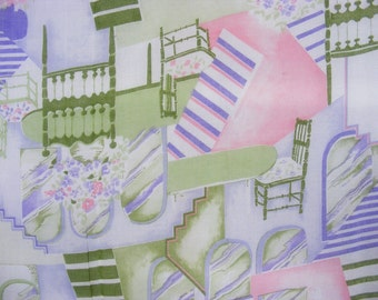 1970's vintage abstract chairs and stairs print sheer fabric in purple, white, pink, and green, 3 yards available
