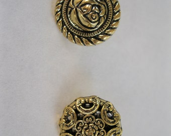 gold tone filigree 11/16 inch buttons, three choices, just under 3/4 inch